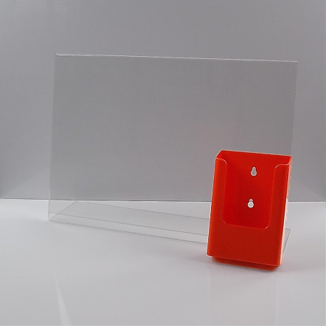 L-Standaard A3 met 1/3 A4 Folderhouder Oranje