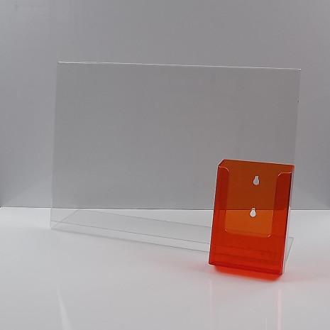 L-Standaard A3 met 1/3 A4 Folderhouder Transparant Oranje