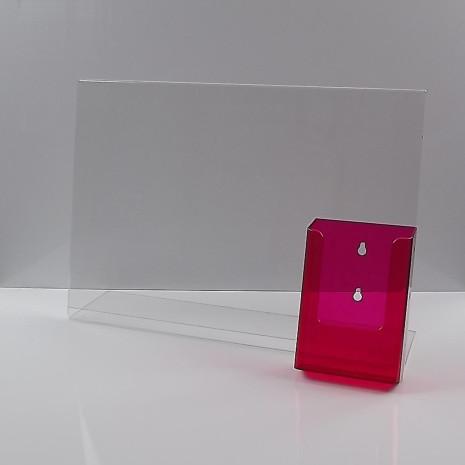 L-Standaard A3 met 1/3 A4 Folderhouder Transparant Rood