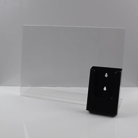 L-Standaard A3 met 1/3 A4 Folderhouder Zwart