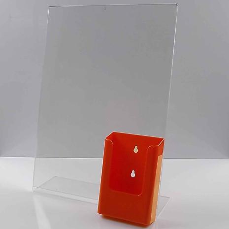 L-Standaard A3 Staand met 1/3 A4 Folderhouder Oranje