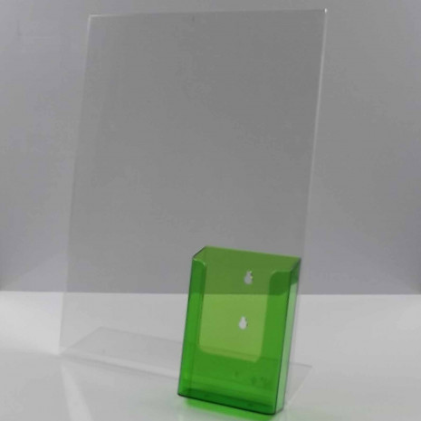 L-Standaard A3 Staand met 1/3 A4 Folderhouder Transparant Groen