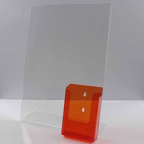 L-Standaard A3 Staand met 1/3 A4 Folderhouder Transparant Oranje
