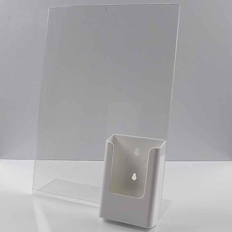 L-Standaard A3 Staand met 1/3 A4 Folderhouder Wit