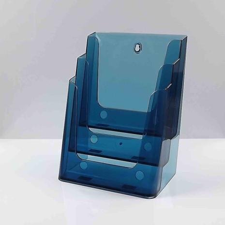 Folderhouder 3* A4 Transparant Blauw