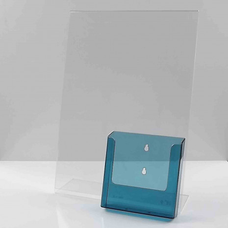 L standaard A3 stand met folderhouder A5 transparant blauw