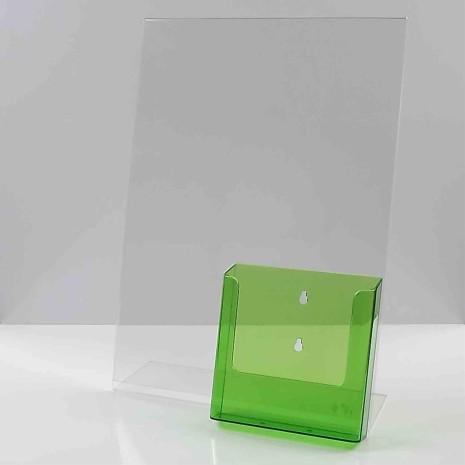 L-standaard A3 staand met folderhouder a5 transparant Groen
