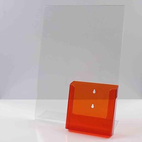 L standaard A3 staand met transparant oranje folderhouder A5