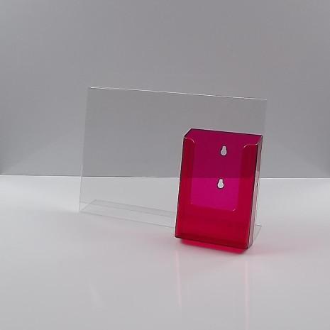 L-Standaard A4 Liggend met 1/3 A4 Folderhouder Transparant Rood