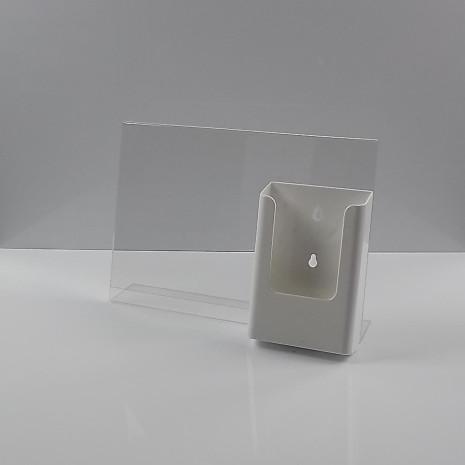 L-Standaard A4 Liggend met 1/3 A4 Folderhouder Wit