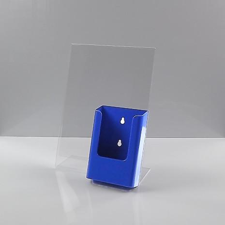 L-Standaard A4 Staand met 1/3 A4 Folderhouder Blauw