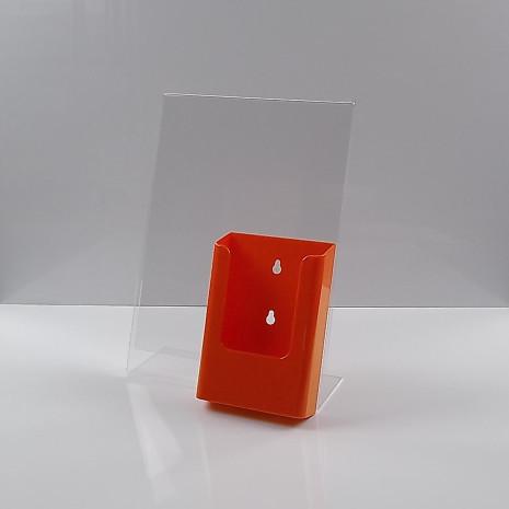 L-Standaard A4 Staand met 1/3 A4 Folderhouder Oranje