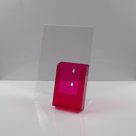 L-Standaard A4 Staand met 1/3 A4 Folderhouder Transparant Rood