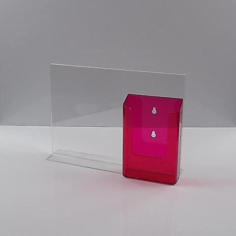 T-+Standaard A4 liggend met 1/3 A4 folderhouder transparant rood