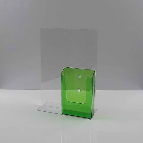T-Standaard A4 Staand met 1/3 A4 Folderhouder Transparant Groen