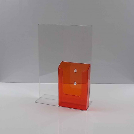 T-Standaard A4 Staand met 1/3 A4 Folderhouder Transparant Oranje
